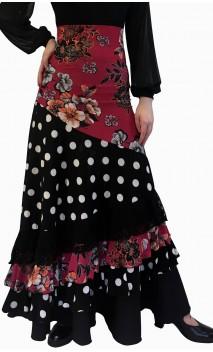 Falda Flamenco Stella Floral y Lunares 4 Volantes