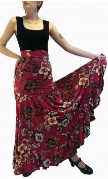 Floral Dark Rose Godet Flamenco Skirt