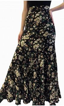 Falda Flamenca Godet Negro Floral