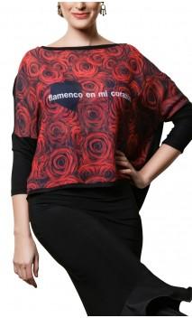 Blusa Crepe Flamenco en mi corazón