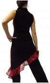 Paula Asymmetric Short-Dress w/ Floral Lace
