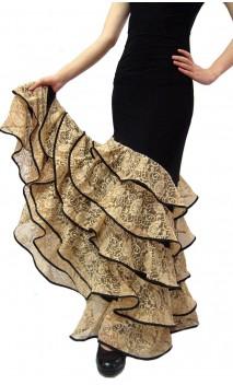 Córdoba 6 Lace Ruffles Long-Skirt Red
